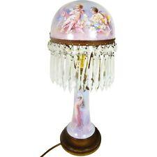 19ThC FRENCH SEVRES STYLE PORCELAIN & BRASS LAMP SIGNED C ROCHETTE LUSTRE DROPS
