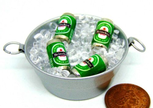 1:12 SCALA 4 lattine di BIRRA CON GHIACCIO in una vasca tumdee Casa delle Bambole Miniatura Bbq Bevanda