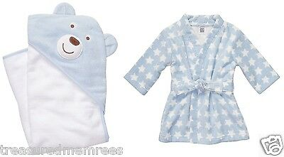 Carter's Little Layette Terry Velour Bath Robe & Bath Towel Gift Set ~ NWT