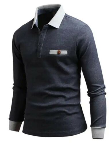 New Mens Dandy Paisley Long Sleeve Pocket Cotton T-Shirts Collar Polo B02 S-L