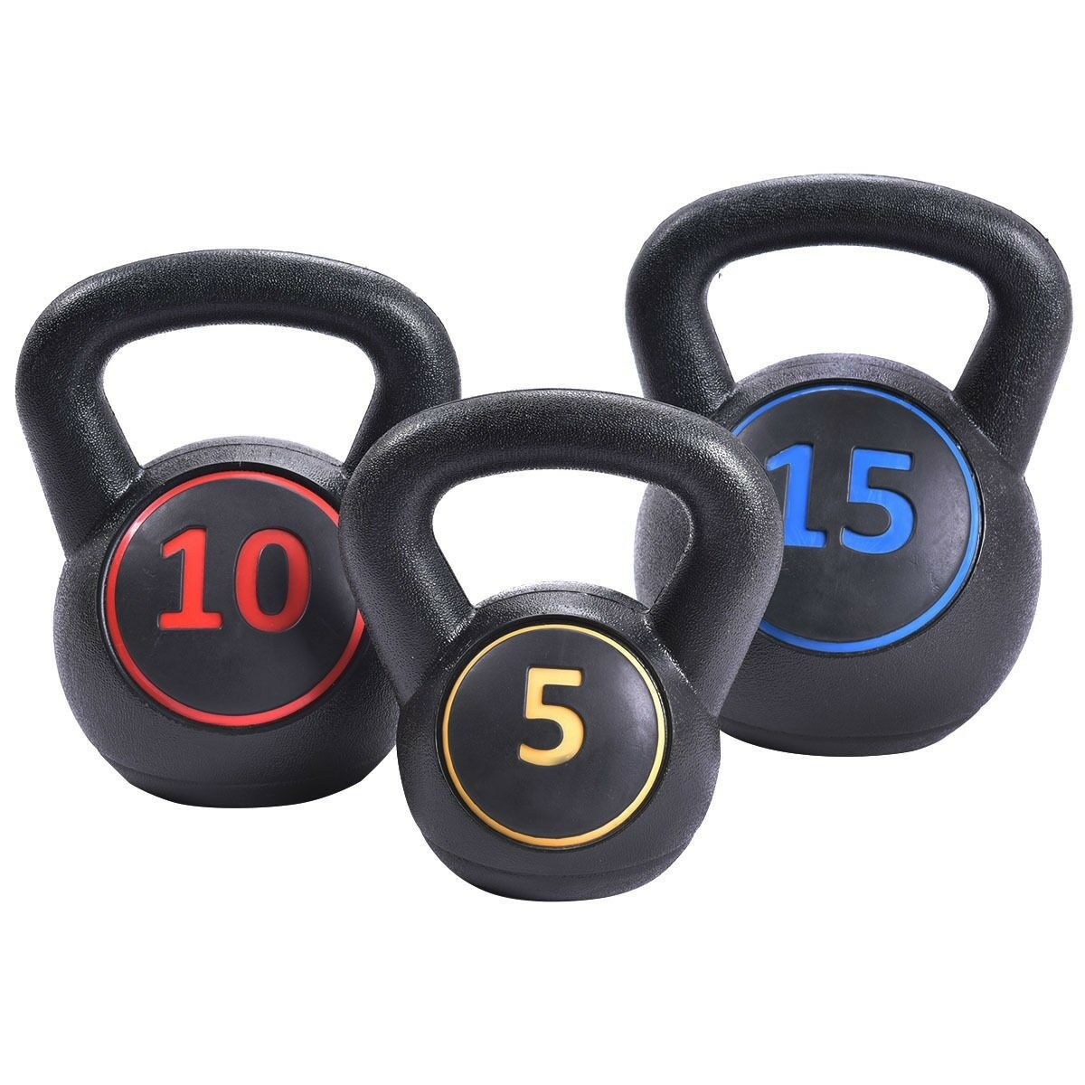 3 Pcs Sport Yoga Vinyl Kettlebell Kit Body  Muscles Home Gym Training Weights US  outlet on sale