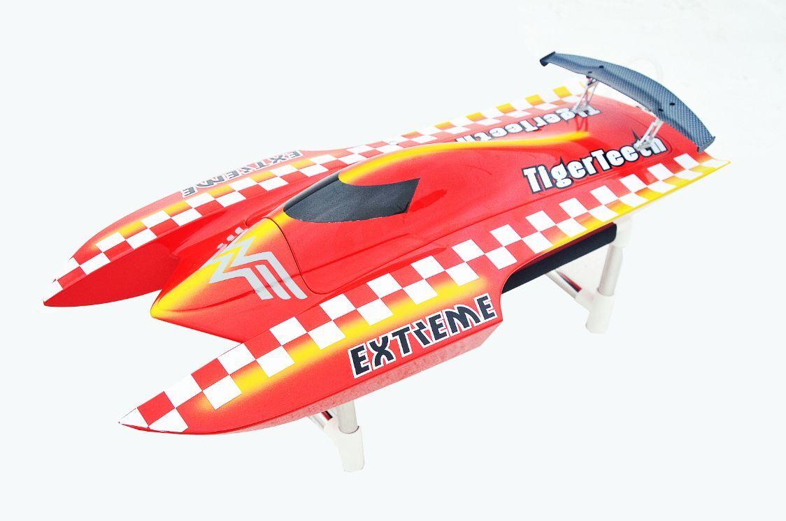 Bare casco DT E22 Tiger dientes eléctrico RC Racing Barco Fibra Vidrio Rojo Kit Modelo
