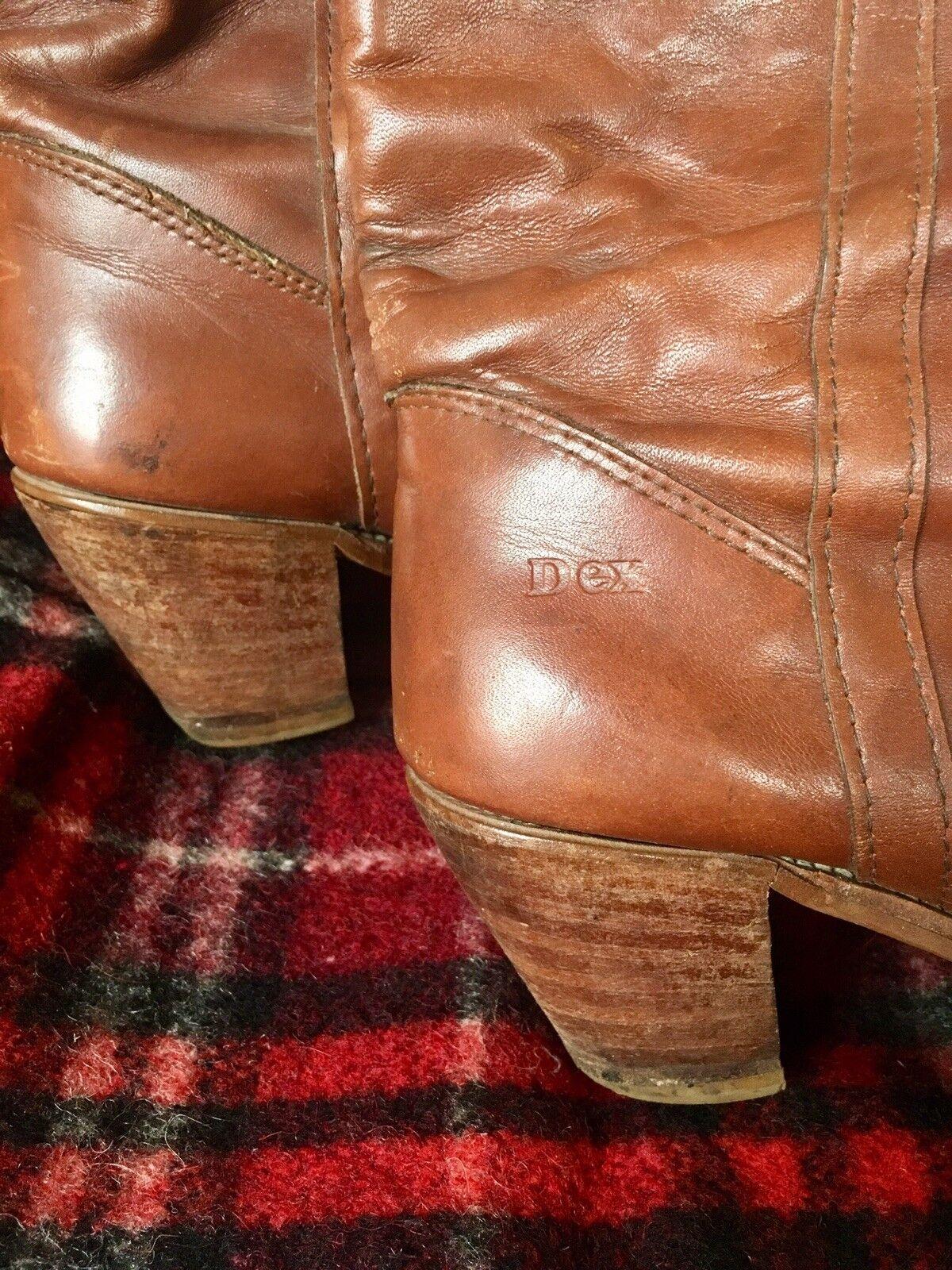 Vintage Dexter Stiefel Knee High Cognac Braun Cognac High Leder Riding / Cowgirl Sz 8 450a36