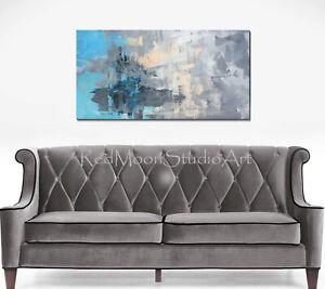 48x24-Abstract-Art-Painting-Blue-Turquoise-Peach-Gray-US-Artist-Modern-Art