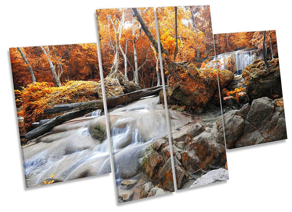 River Landscape Orange Forest Picture CANVAS WALL ART Four Panel