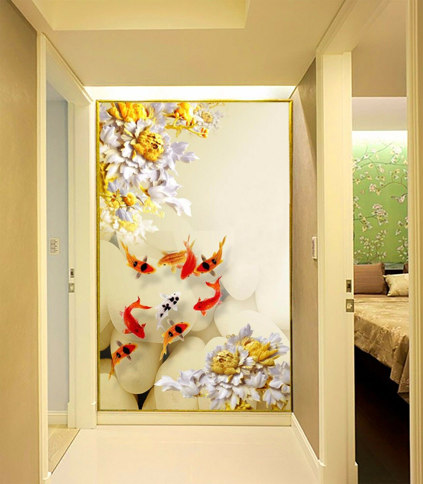 3D Pretty Flowers Fishes 085 Paper Wall Print Wall Decal Wall Deco Indoor Murals