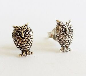Details About Boho Chic 925 Sterling Silver Owl Stud Earrings Israel Made New