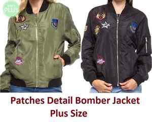 c59741043fc4e Womens Sexy Bomber Jacket Ladies Plus Size US Army Badges Patches ...