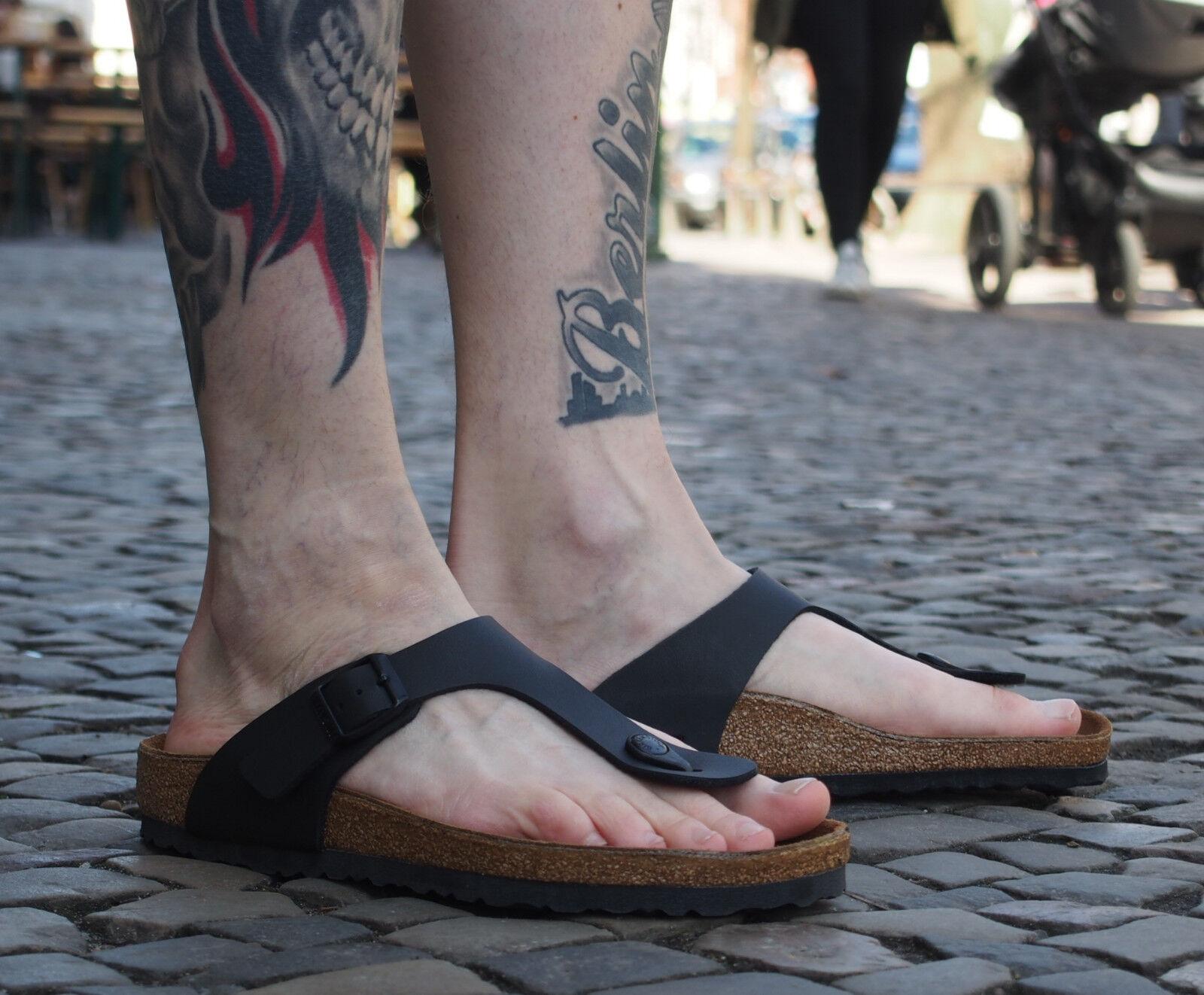 Birkenstock GIZEH BF black schwarz Sandalen 691 Birkoflor Echtleder NEU unisex