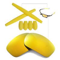 Walleva 24K Gold Polarized lenses + Ear socks T-shocks for Oakley X-Squared