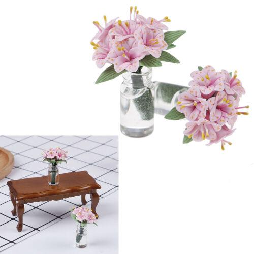 1Pc 1:12 Mini pink lily glass bottle flower arrangement *Dollhouse furniture tHV