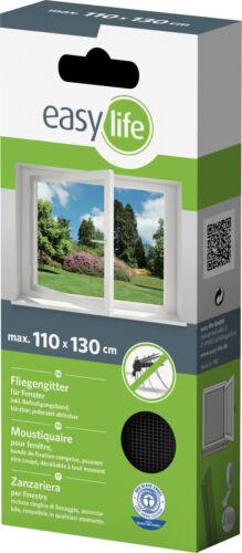 EasyLife Protection insectes-Grille-Fenêtre 110 x 130 cm Anthracite avec velcro