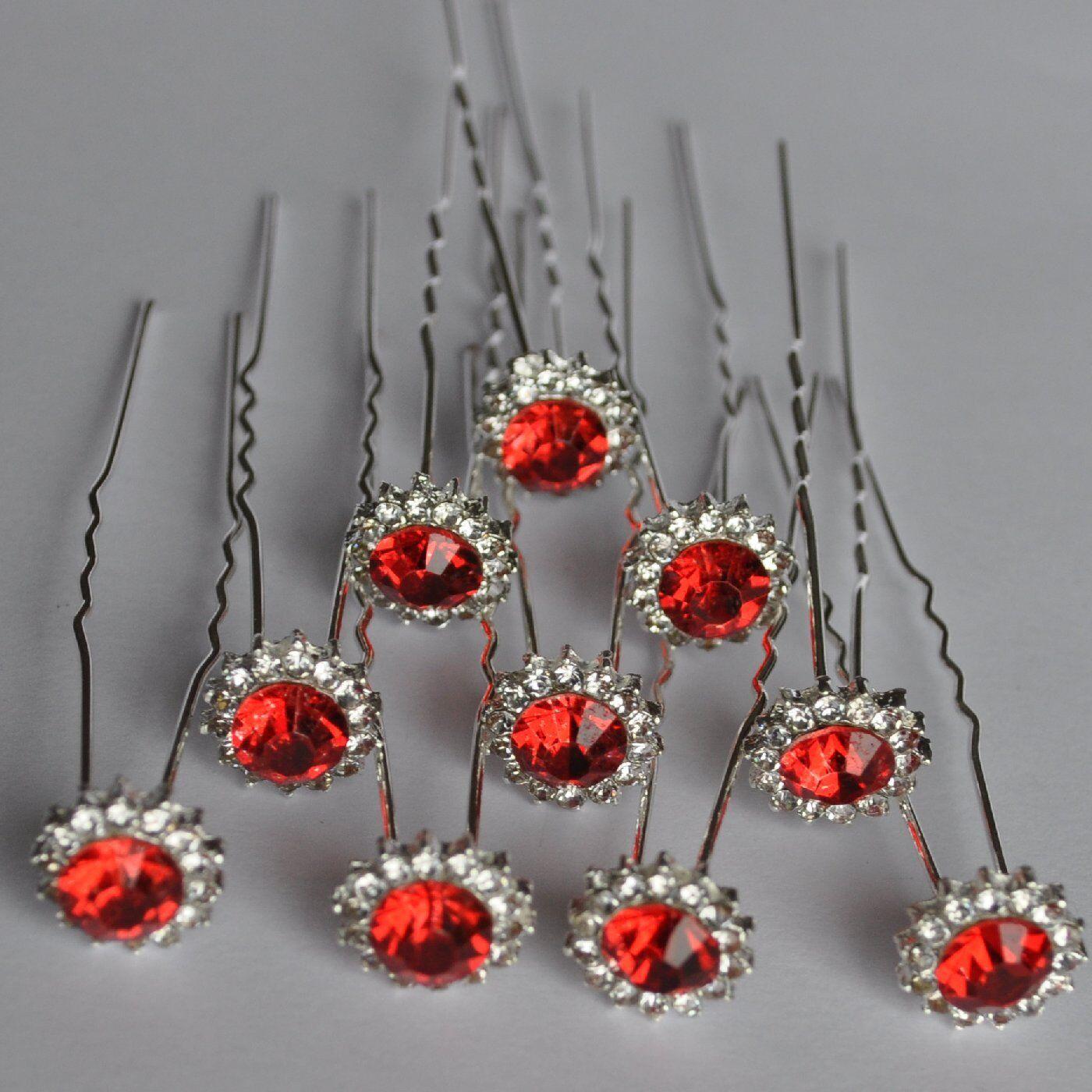 Set 10 Pins Star Flower Wedding Bride Hair Accessory Rhinestone Red