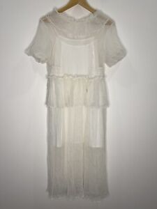 MLM label Silk White Dress With Slip Tier Midi Size M EUC