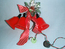 Vintage 3-Light Cluster Hard Plastic Red Christmas Bells w/Insert Clips Nice