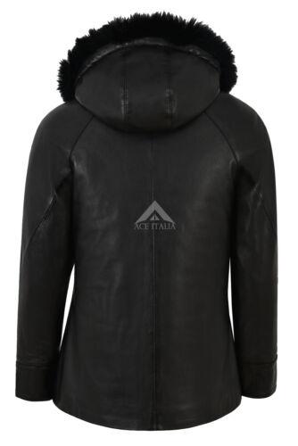 Femmes Veste à capuche en cuir fourrure à capuche Hip Longueur Parka à capuche veste Isabel 142