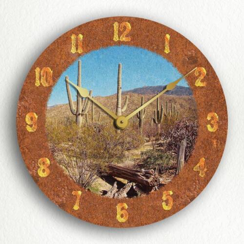 "Saguaro Cactus Beautiful Rustic Western Theme 12/"" Silent Wall Clock"