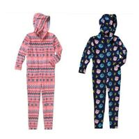 Girls Plush One Piece Pajama Hood Sz 4-5 6-6x Owl Party Warm Fairisle