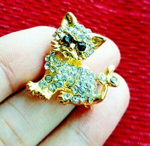 Cat-Kitty-Kitten-Gold-Crystal-BROOCH-Pin-Badge-Diamante-Rhinestone-Ladies-Gift