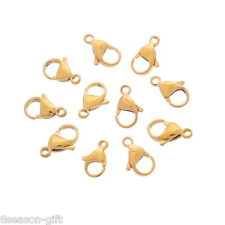 50PCs Stainless Steel Lobster Clasp Gold Plated For Jewelry Findings DIY