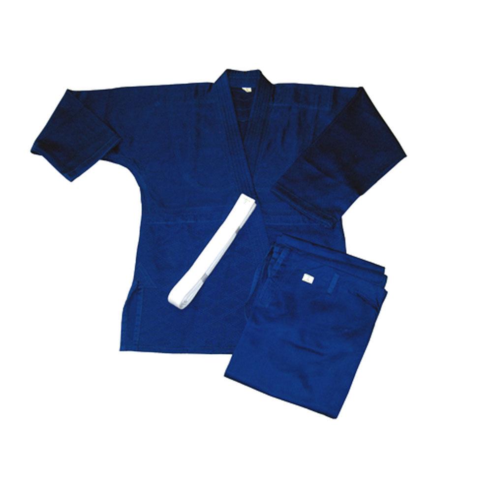 Single Weave Judo Uniform Gi - blueee with White Belt