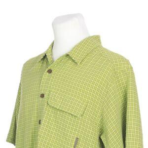 ExOfficio-Vented-Short-Sleeve-Green-Check-Fishing-Hiking-Shirt-Mens-Medium