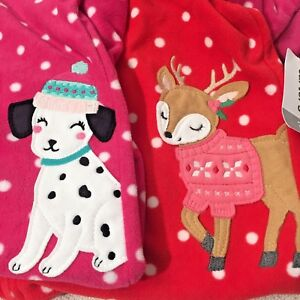 37d1a5fae Image is loading NWT-Carters-Pajama-Sleepers-Footed-Fleece-Reindeer- Dalmatian-