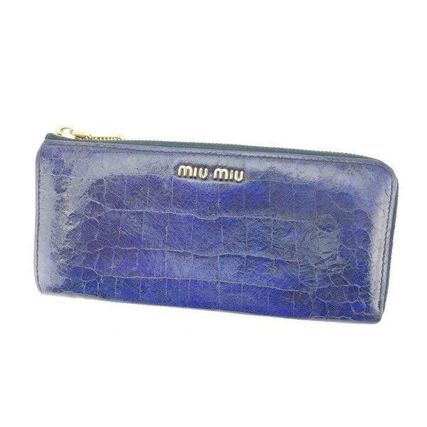 miumiu Wallet Purse Long Wallet Navy Woman Authentic Used Y3150