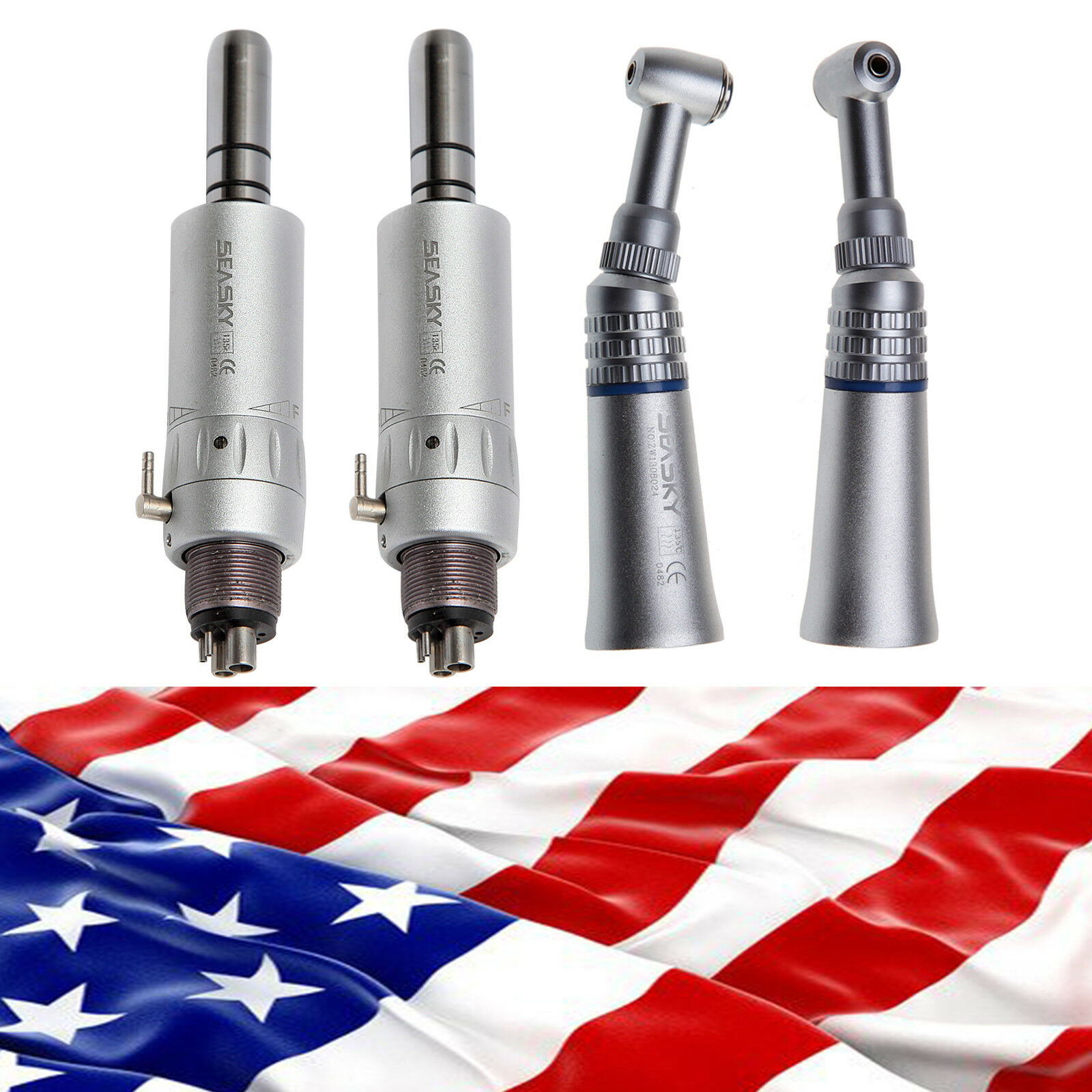 2Kit USA Dental Slow Low Speed  Push Button Contra angle  Speed 4H Air Motor Handpiece aded6d
