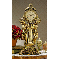 French Rococo Twin Cherubs Ornate Antique Gold Tone Finish Mantel Clock