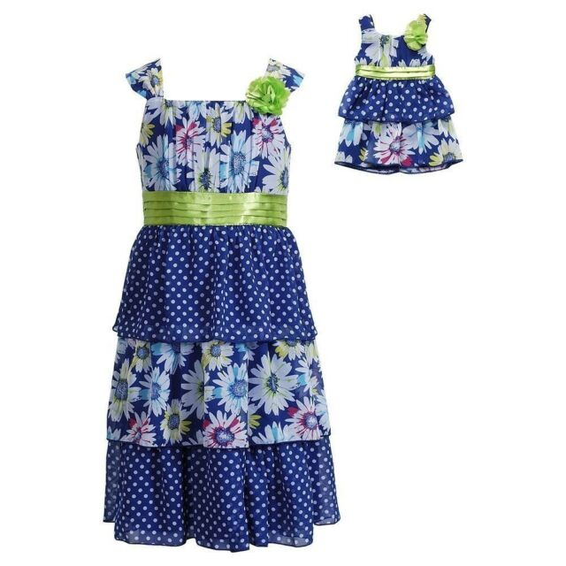 """Dollie & Me NWT 4 4T Blue Dot Tiered Dress Set 18"""" Girl Doll Outfit American"""