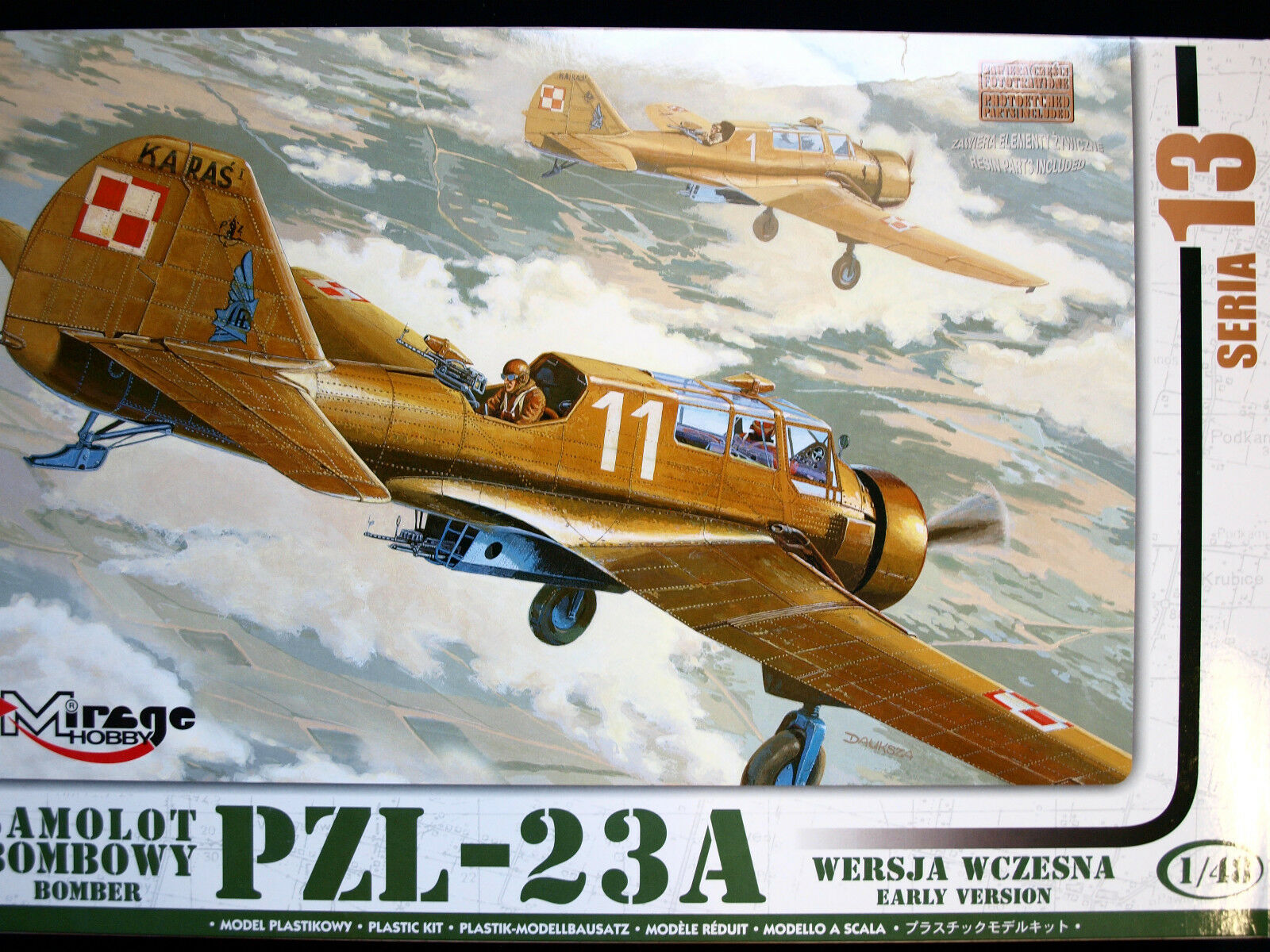 PZL – 23 A BOMBER AIRCRAFT, EARLY VERSION, MIRAGE HOBBY, SCALE 1 48