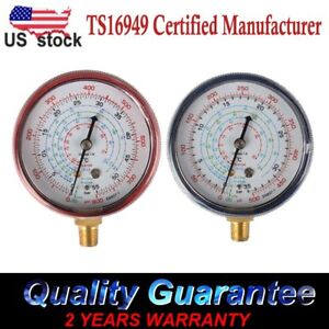 Set of 2 Air Conditioner R410A R134a R22 Refrigerant Low High Pressure Gauge US