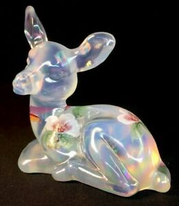 Fenton-Art-Glass-Hand-Painted-Magnolia-Blush-On-French-Opalescent-Carnival-Deer