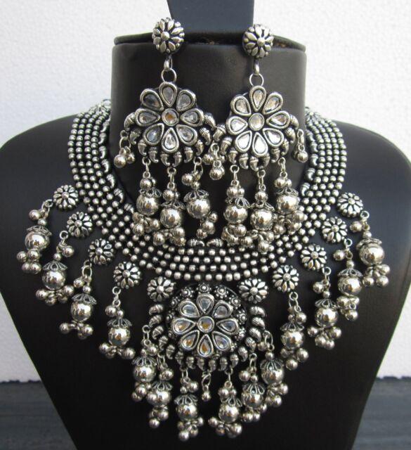 Vintage retro Fashion Tribal Silver Boho Kuchi Tibetan Filigree Handmade Jewelry