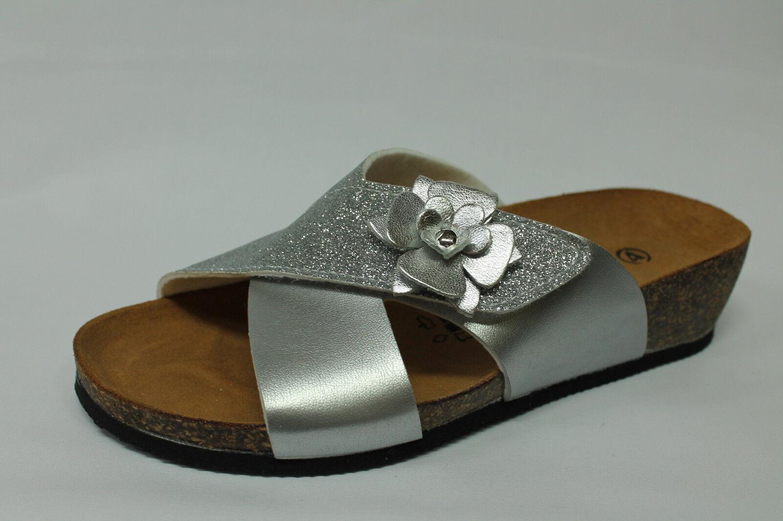 Sandali ciabatte strappo Vallegreen G51299F silver zeppa 4 cm Made in