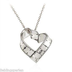 L-P-1-Halskette-Kett-Feder-Anhaenger-Modeschmuck-Vatertag-Herz-Lineal-Silber