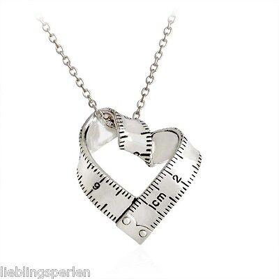 1 Damen Halskette Halsschmuck Herz Strass MOM Rund Silber Anhänger Mode 47cm