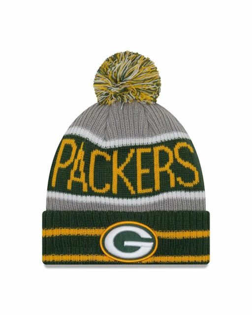 6bfdf631337 Green Bay Packers Era Knit Hat Banner Block Pom Beanie Stocking Cap ...