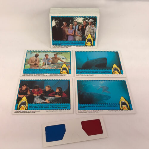 Topps//1983 ODDBALL TRADING CARD SET IS ACTUALLY IN 3-D w// GLASSES! JAWS 3-D