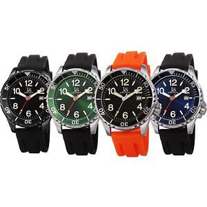 Men-039-s-Joshua-amp-Son-039-s-JX151-Date-Luminous-Hands-Silicone-Strap-Sports-Watch