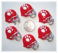 6pc White Paw Print Red Football Helmet Flatback Flat Back Resins 4 Hairbow Bow