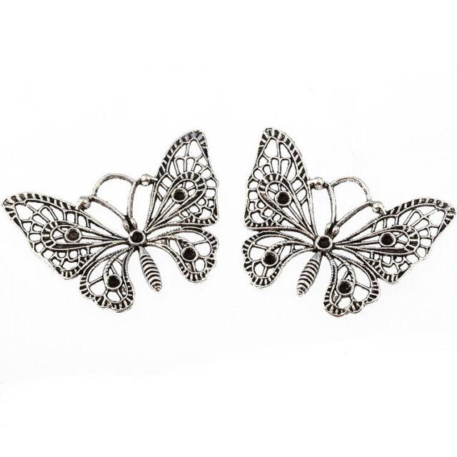 2pcs Large Butterfly filigree Tibetan Silver Bead charms pendant 45*40mm