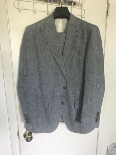 Suit Supply Suit Size 40 Regular, 50R Blue Linen.