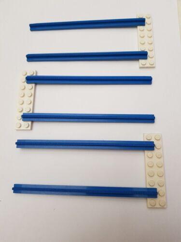 LEGO Bau- & Konstruktionsspielzeug Lego Eisenbahn 4,5V 6x gerade Schiene blau mit 3x Schwellen weiß Baukästen & Konstruktion