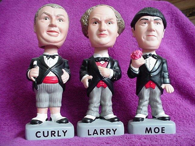 Three Stooges Bobbing Nodder Head SET SAMs  Tuxedo Set