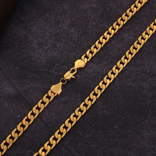 8mm Quality 18K Gold Plated Bracelet Charm Curb Chain Unisex Luxury link 8 mm