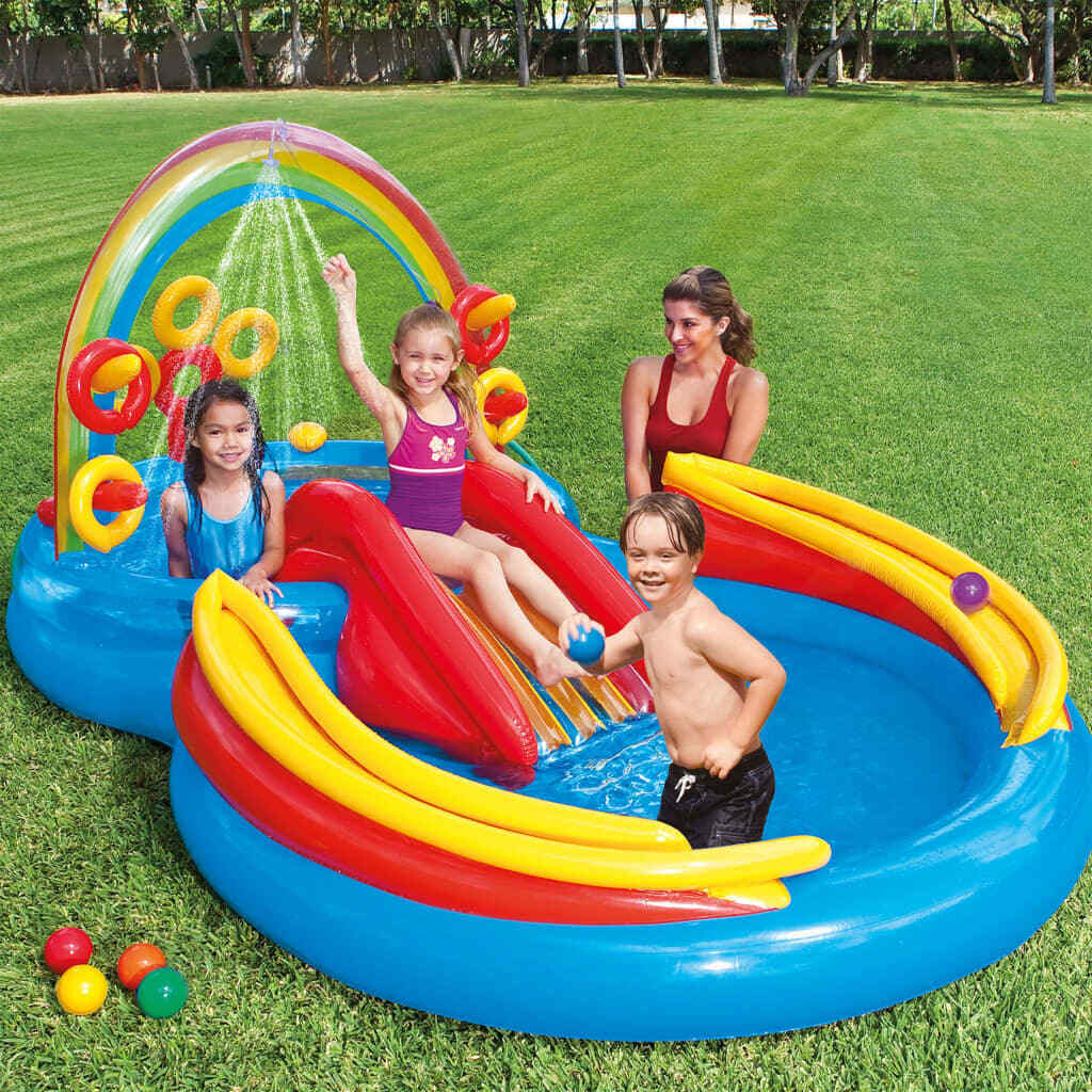 Intex Inflatable Pool Pool Pool Rainbow Ring Play Centre 297x193 x135cm Summer Garden f8c30d