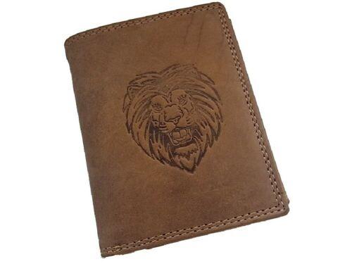 Herren Geldbörse Portmonee Portemonnaie Geldbeutel echtes Leder Löwen Motiv
