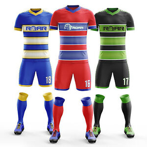24a1d7bb398 ROAR New Soccer Uniform Set Customized Team Shirts Short And Socks ...